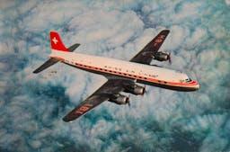 Transantlantic DC-6 B der Swissair. (ETH-Bibliothek Zürich, Bildarchiv / Fotograf: Swissair Photo AGETH-Bibliothek Zürich, Bildarchiv / Swissair Photo AG)